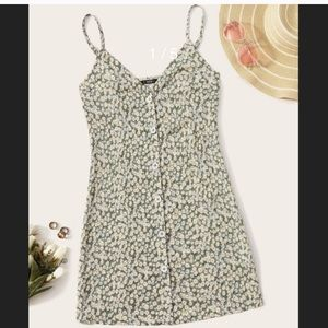 NWOT Shein Daisy Floral Button Front Slip Dress XS